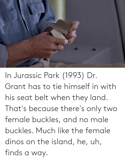 Jurassic Park: In Jurassic Park (1993) Dr. Grant has to tie himself in with his seat belt when they land. That's because there's only two female buckles, and no male buckles. Much like the female dinos on the island, he, uh, finds a way.