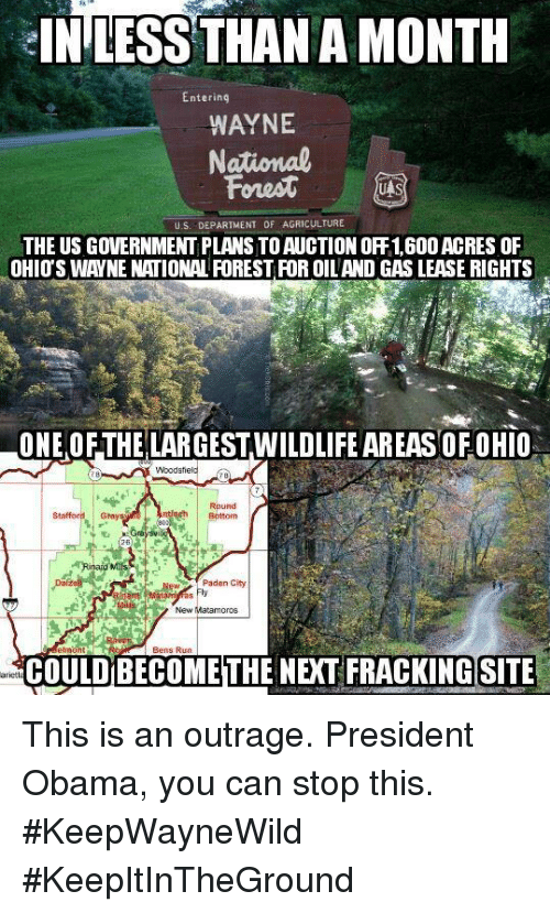 This Is An Outrage: IN LESS THAN A MONTH  Entering  WAYNE  National  Forest  UAS  U.S. DEPARTMENT OF AGRICULTURE  THE US GOVERNMENT PLANSTOAUCTION ORF1.600 ACRES OF  OHIOS WAYNE NATIONAL ROREST ROR OILAND GAS LEASE RIGHTS  ONE OFTHELARGESTWILDLIFE AREAS OF OHIO  Round  Paden City  New Matamoros  COULDBECOME THE NEXT FRACKING SITE This is an outrage. President Obama, you can stop this. #KeepWayneWild #KeepItInTheGround