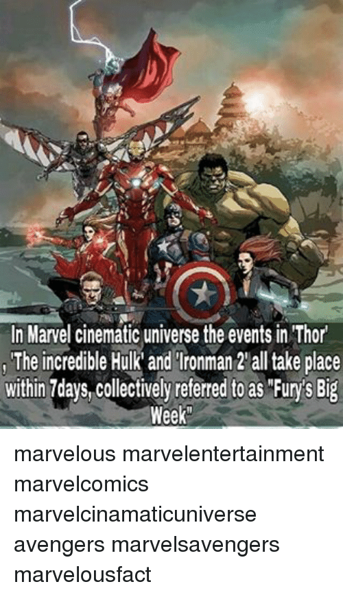 incredible hulk: In Marvel cinematic universe the events in Thor  The incredible Hulk and Ironman 2 alltake place  within 7days Collectively referred to as Furys Big  Week marvelous marvelentertainment marvelcomics marvelcinamaticuniverse avengers marvelsavengers marvelousfact