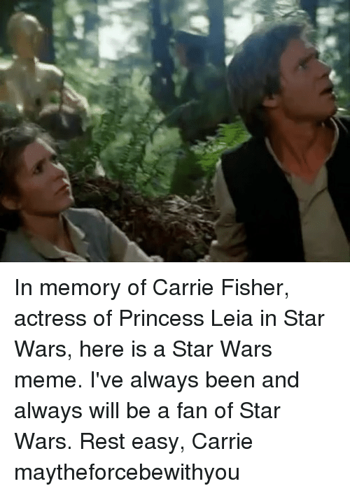 War Meme: In memory of Carrie Fisher, actress of Princess Leia in Star Wars, here is a Star Wars meme. I've always been and always will be a fan of Star Wars. Rest easy, Carrie maytheforcebewithyou