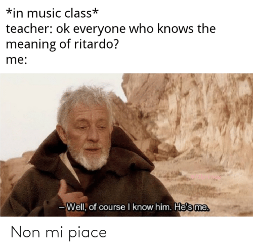 Mi Piace: *in music class*  teacher: ok everyone who knows the  meaning of ritardo?  me:  - Well, of course I know him. He's me. Non mi piace