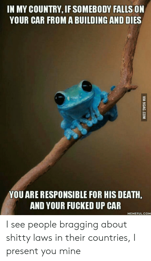 I Present: IN MY COUNTRY, IF SOMEBODY FALLS ON  YOUR CAR FROMA BUILDING AND DIES  YOU ARE RESPONSIBLE FOR HIS DEATH,  AND YOUR FUCKED UP CAR  MEMEFUL.COM  VIA 9GAG.COM I see people bragging about shitty laws in their countries, I present you mine