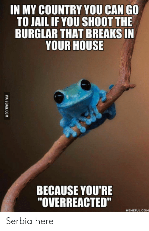 """Serbia: IN MY COUNTRY YOU CAN GO  TO JAIL IF YOU SHOOT THE  BURGLAR THAT BREAKS IN  YOUR HOUSE  BECAUSE YOU'RE  """"OVERREACTED""""  MEMEFUL.COM  VIA 9GAG.COM Serbia here"""