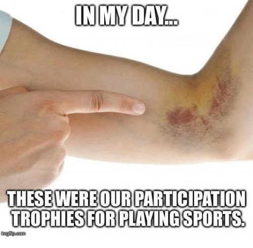 Participation Trophy: IN MY DAY  THESEWERE OUR PARTICIPATION  TROPHIES FOR PLAYINGSPORTS