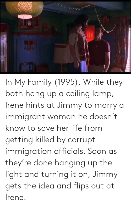 Immigration: In My Family (1995), While they both hang up a ceiling lamp, Irene hints at Jimmy to marry a immigrant woman he doesn't know to save her life from getting killed by corrupt immigration officials. Soon as they're done hanging up the light and turning it on, Jimmy gets the idea and flips out at Irene.