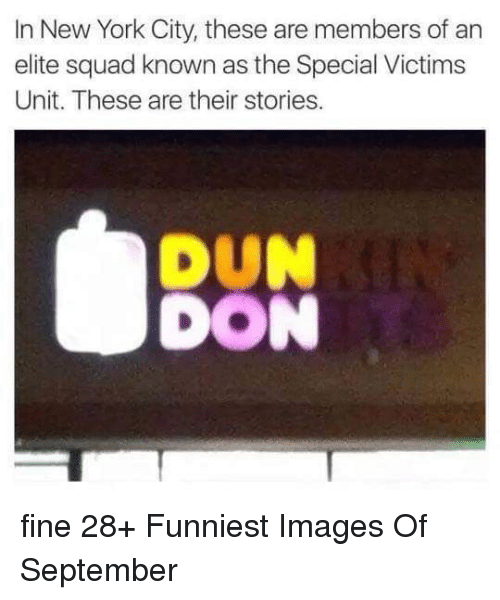 New York, Squad, and These Are Their Stories: In New York City, these are members of an  elite squad known as the Special Victims  Unit. These are their stories.  DUN  DON fine 28+ Funniest Images Of September