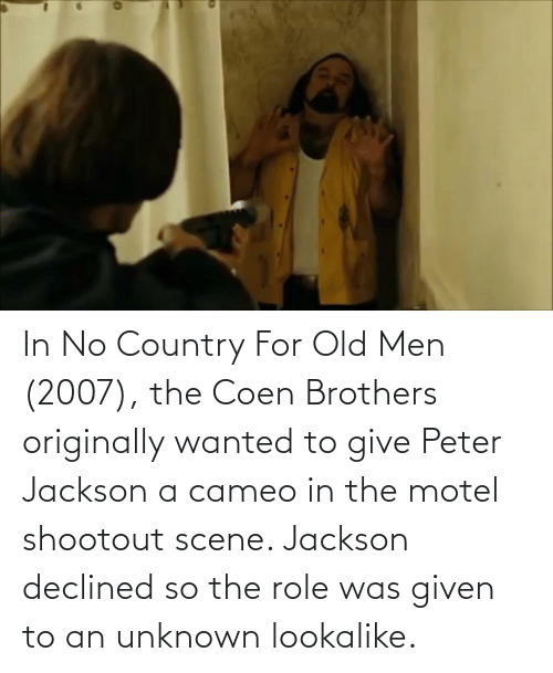 Was Given: In No Country For Old Men (2007), the Coen Brothers originally wanted to give Peter Jackson a cameo in the motel shootout scene. Jackson declined so the role was given to an unknown lookalike.