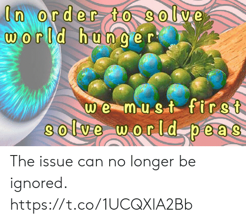 hunger: In order to Solve  world hunger  we must first  8olve world peas- The issue can no longer be ignored. https://t.co/1UCQXlA2Bb