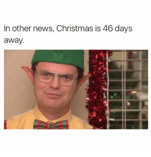 Funny, Meme, and News: In other news, Christmas is 46 days  away.