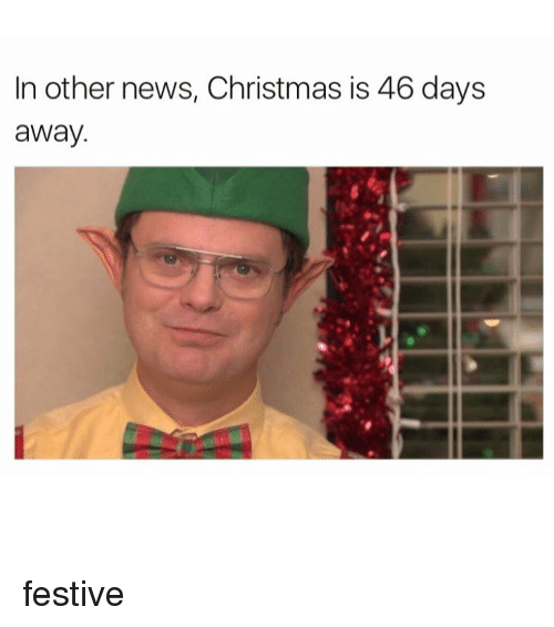 News, Girl, and Festival: In other news, Christmas is 46 days  away. festive