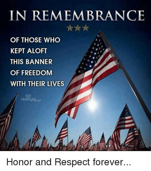 Memes, 🤖, and Banner: IN REMEMBRANCE  OF THOSE WHO  KEPT ALOFT  THIS BANNER  OF FREEDOM  WITH THEIR LIVES Honor and Respect forever...