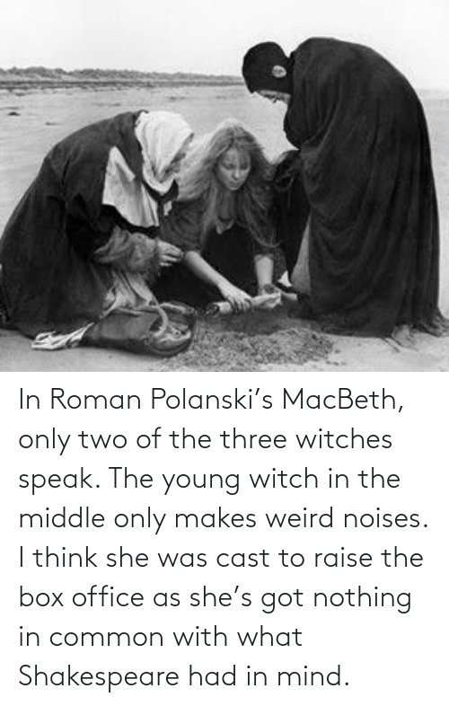 polanski: In Roman Polanski's MacBeth, only two of the three witches speak. The young witch in the middle only makes weird noises. I think she was cast to raise the box office as she's got nothing in common with what Shakespeare had in mind.