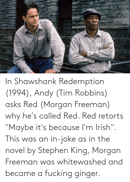 "Morgan Freeman: In Shawshank Redemption (1994), Andy (Tim Robbins) asks Red (Morgan Freeman) why he's called Red. Red retorts ""Maybe it's because I'm Irish"". This was an in-joke as in the novel by Stephen King, Morgan Freeman was whitewashed and became a fucking ginger."