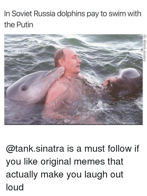Memes, Putin, and Soviet: In Soviet Russia dolphins pay to swim with  the Putin @tank.sinatra is a must follow if you like original memes that actually make you laugh out loud