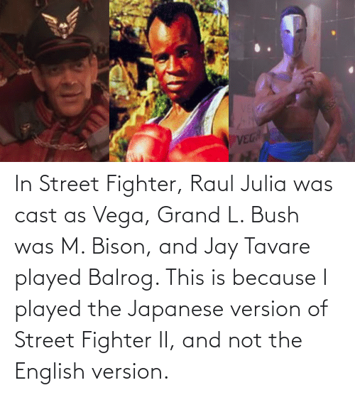 bison: In Street Fighter, Raul Julia was cast as Vega, Grand L. Bush was M. Bison, and Jay Tavare played Balrog. This is because I played the Japanese version of Street Fighter II, and not the English version.