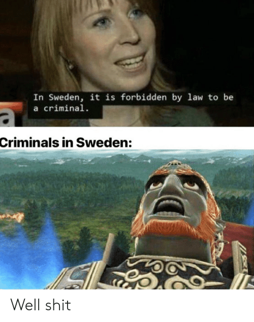 Sweden: In Sweden, it is forbidden by law to be  a criminal  Criminals in Sweden: Well shit