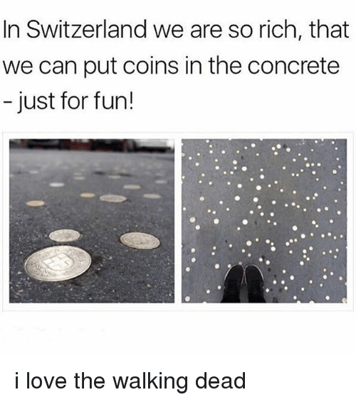 Love, Memes, and The Walking Dead: In Switzerland we are so rich, that  we can put coins in the concrete  - just for fun! i love the walking dead