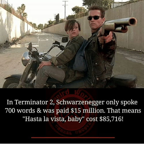 "Baby, It's Cold Outside: In Terminator 2, Schwarzenegger only spoke  700 words & was paid $15 million. That means  ""Hasta la vista, baby"" cost $85,716!"