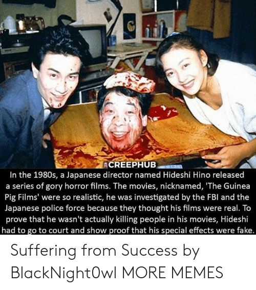 guinea: In the 1980s, a Japanese director named Hideshi Hino released  a series of gory horror films. The movies, nicknamed, 'The Guinea  Pig Films' were so realistic, he was investigated by the FBl and the  Japanese police force because they thought his films were real. To  prove that he wasn't actually killing people in his movies, Hideshi  had to go to court and show proof that his special effects were fake. Suffering from Success by BlackNight0wl MORE MEMES