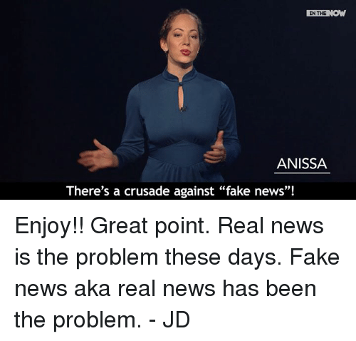 "Fake, Memes, and 🤖: IN THE  ANISSA  There's a crusade against ""fake news""! Enjoy!! Great point. Real news is the problem these days. Fake news aka real news has been the problem. - JD"
