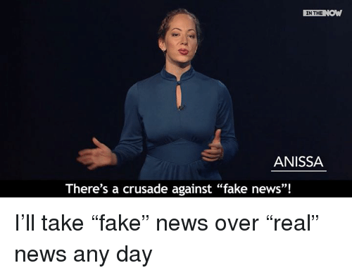 "Fake, Memes, and 🤖: IN THE  ANISSA  There's a crusade against ""fake news""! I'll take ""fake"" news over ""real"" news any day"