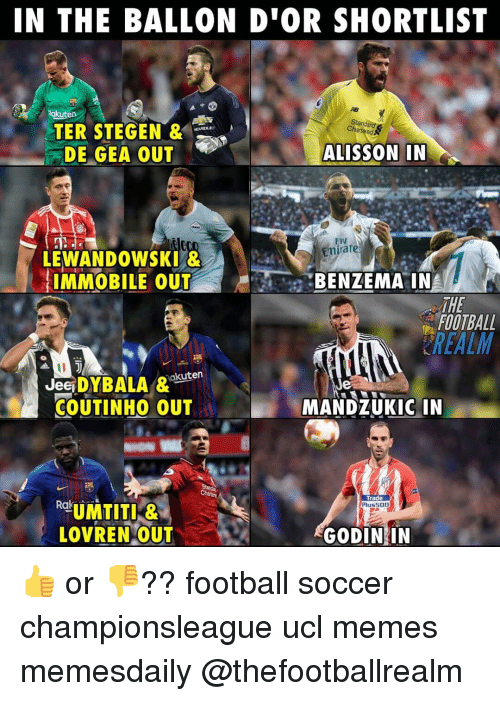 Football, Memes, and Soccer: IN THE BALLON D'OR SHORTLIST  Rakuten  Standard  Charteed  TER STEGEN &  DE GEA OUT .  ALISSON IN  Fly  mirate  LEWANDOWSKI &  IMMOBILE OUTBENZEMA IN  THE  FOOTBALL  REALM  JeSDYBALA &akuten  COUTINHO OUT  MANDZUKIC IN  Trade  Plus500  LOVREN OUT  GODIN IN 👍 or 👎?? football soccer championsleague ucl memes memesdaily @thefootballrealm