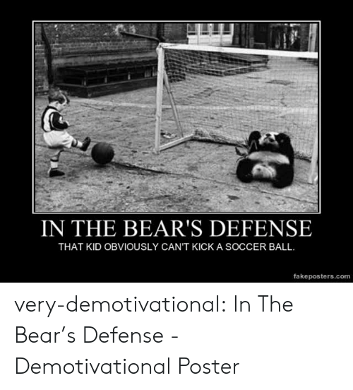 demotivational: IN THE BEAR'S DEFENSE  THAT KID OBVIOUSLY CAN'T KICK A SOCCER BALL  fakeposters.com very-demotivational:  In The Bear's Defense - Demotivational Poster
