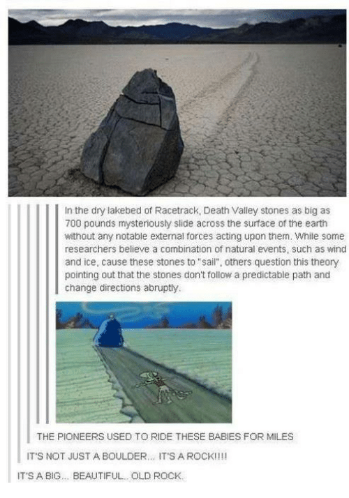 "Funny: In the dry lakebed of Racetrack, Death Valley stones as big as  700 pounds mysteriously slide across the surface of the earth  without any notable external forces acting upon them. While some  researchers believe a combination of natural events, such as wind  and ice, cause these stones to ""sail"", others question this theory  pointing out that the stones don't follow a predictable path and  change directions abruptly.  THE PIONEERS USED TO RIDE THESE BABIES FOR MILES  IT'S NOT JUST A BOULDER  IT'S A ROCK!  IT'S A BIG BEAUTIFUL.. OLD ROCK."