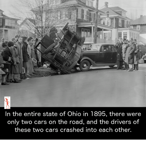 Cars, Memes, and Ohio: In the entire state of Ohio in 1895, there were  only two cars on the road, and the drivers of  these two cars crashed into each other.