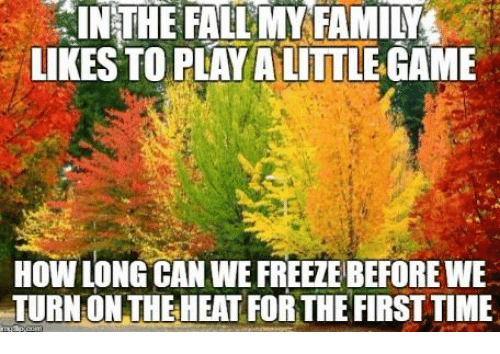 Fall: IN THE FALL MY FAMILYL  LIKES TO PLAY ALITTLE GAME  HOW LONG CAN WE FREETEBEFOREWE  TURNIONTHE HEAT FORTHE FIRST TIME