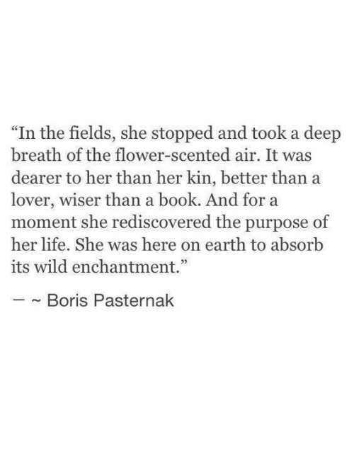 """Deep Breath: """"In the fields, she stopped and took a deep  breath of the flower-scented air. It was  dearer to her than her kin, better than a  lover, wiser than a book. And for a  moment she rediscovered the purpose of  her life. She was here on earth to absorb  its wild enchantment.""""  ~ Boris Pasternak"""
