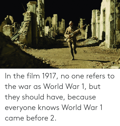 world war 1: In the film 1917, no one refers to the war as World War 1, but they should have, because everyone knows World War 1 came before 2.