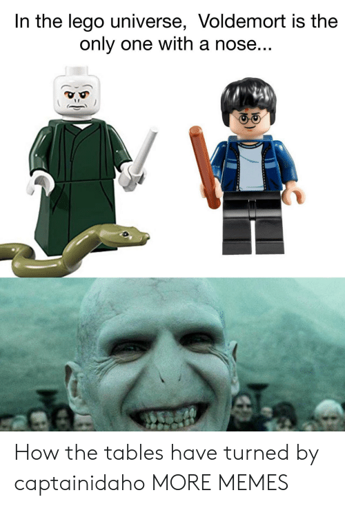 lego universe: In the lego universe, Voldemort is the  only one with a nose How the tables have turned by captainidaho MORE MEMES