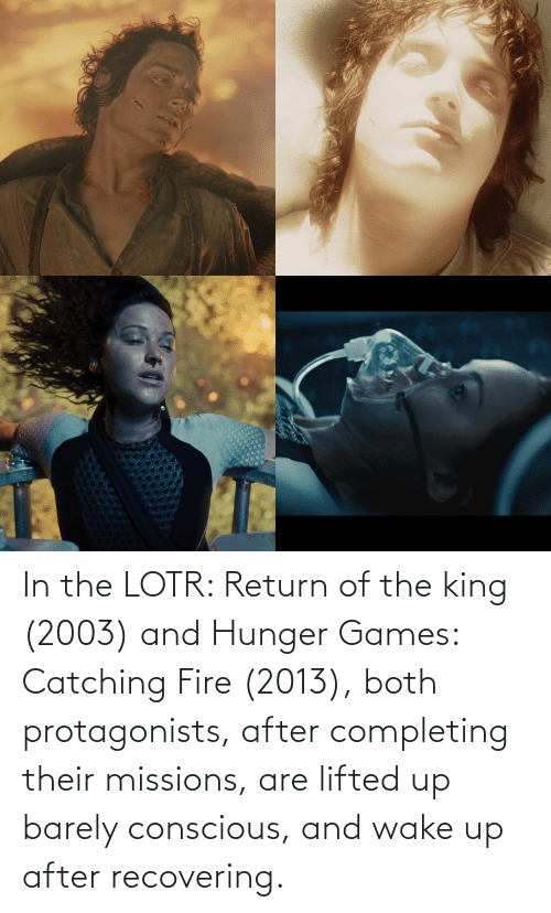The Hunger Games: In the LOTR: Return of the king (2003) and Hunger Games: Catching Fire (2013), both protagonists, after completing their missions, are lifted up barely conscious, and wake up after recovering.