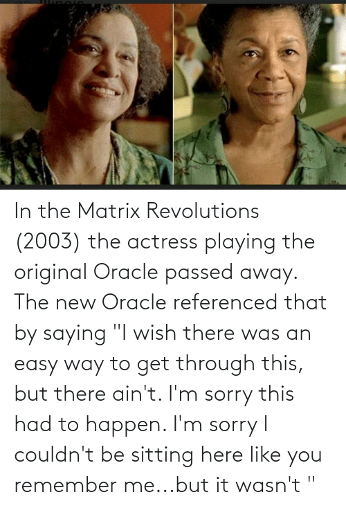 """actress: In the Matrix Revolutions (2003) the actress playing the original Oracle passed away. The new Oracle referenced that by saying """"I wish there was an easy way to get through this, but there ain't. I'm sorry this had to happen. I'm sorry I couldn't be sitting here like you remember me...but it wasn't """""""