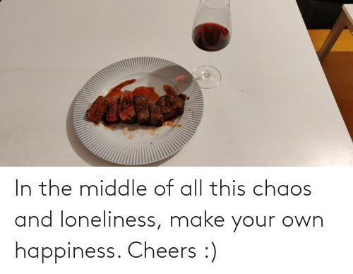 make your own: In the middle of all this chaos and loneliness, make your own happiness. Cheers :)