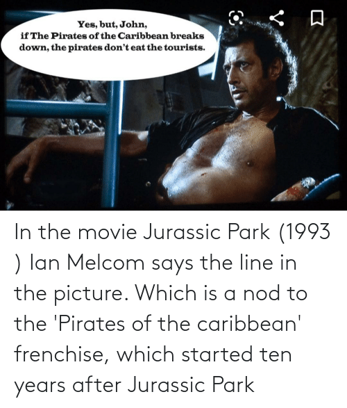 Jurassic Park: In the movie Jurassic Park (1993 ) Ian Melcom says the line in the picture. Which is a nod to the 'Pirates of the caribbean' frenchise, which started ten years after Jurassic Park