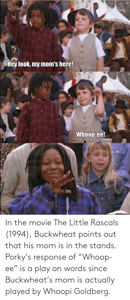 """Whoopi Goldberg: In the movie The Little Rascals (1994), Buckwheat points out that his mom is in the stands. Porky's response of """"Whoop-ee"""" is a play on words since Buckwheat's mom is actually played by Whoopi Goldberg."""