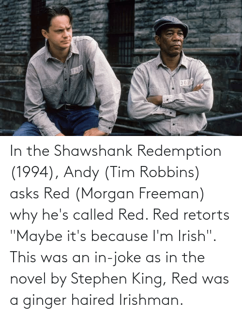 "Morgan Freeman: In the Shawshank Redemption (1994), Andy (Tim Robbins) asks Red (Morgan Freeman) why he's called Red. Red retorts ""Maybe it's because I'm Irish"". This was an in-joke as in the novel by Stephen King, Red was a ginger haired Irishman."