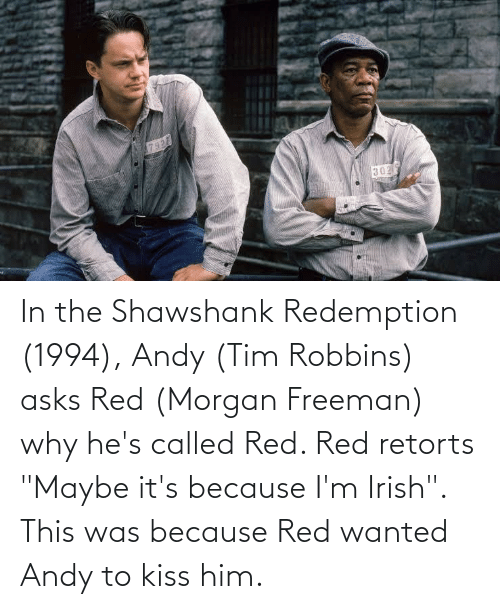 "Morgan Freeman: In the Shawshank Redemption (1994), Andy (Tim Robbins) asks Red (Morgan Freeman) why he's called Red. Red retorts ""Maybe it's because I'm Irish"". This was because Red wanted Andy to kiss him."