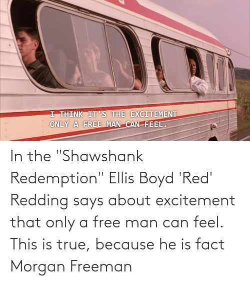 "Morgan Freeman: In the ""Shawshank Redemption"" Ellis Boyd 'Red' Redding says about excitement that only a free man can feel. This is true, because he is fact Morgan Freeman"
