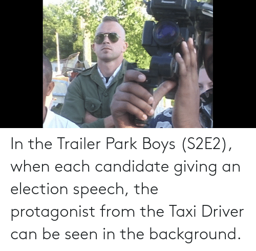 election: In the Trailer Park Boys (S2E2), when each candidate giving an election speech, the protagonist from the Taxi Driver can be seen in the background.