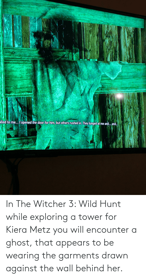 wall: In The Witcher 3: Wild Hunt while exploring a tower for Kiera Metz you will encounter a ghost, that appears to be wearing the garments drawn against the wall behind her.