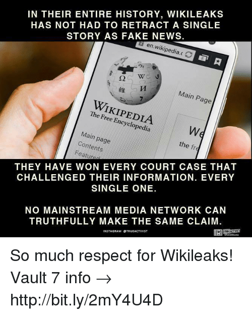 Memes, 🤖, and Media: IN THEIR ENTIRE HISTORY, WIKILEAKS  HAS NOT HAD TO RETRACT A SINGLE  STORY AS FAKE NEWS.  en wikipedia.c  Main Page  The Free Encyclopedia  Main page  Contents  the fr  Featured  THEY HAVE WON EVERY COURT CASE THAT  CHALLENGED THEIR INFORMATION. EVERY  SINGLE ONE.  NO MAINSTREAM MEDIA NETWORK CAN  TRUTHFULLY MAKE THE SAME CLAIM  NSTAGRAM OTRUEACTIVIST So much respect for Wikileaks!   Vault 7 info →  http://bit.ly/2mY4U4D
