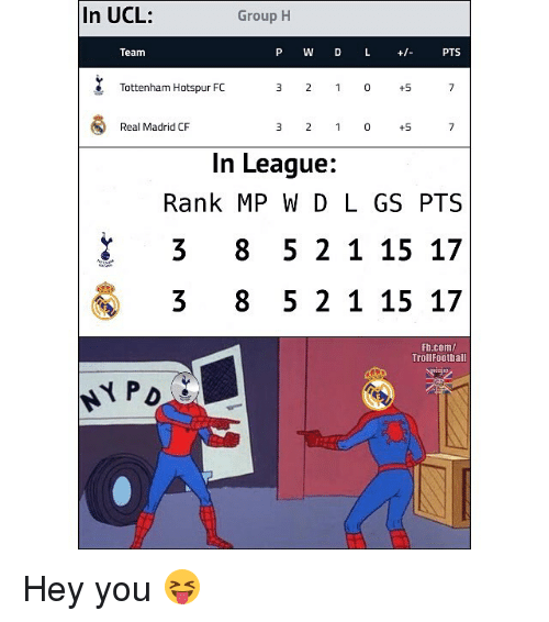 Memes, Real Madrid, and Real Madrid Cf: In UCL:  Group H  Team  P W D L + PTS  Tottenham Hotspur FC  3 2 1 0+5  Real Madrid CF  3 21 0 +5  In League:  Rank MP W D L GS PTS  3 8 5 2 115 17  3 8 5 2 1 15 17  Fh.com/  TrollFoothall Hey you 😝