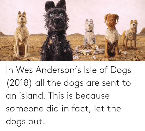 Wes: In Wes Anderson's Isle of Dogs (2018) all the dogs are sent to an island. This is because someone did in fact, let the dogs out.