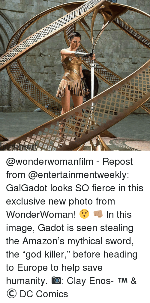"""Mythic: INC  2111111  llllll  211m  《21.52  anuaag  AD蟲潺鉴圌  WEE-E K @wonderwomanfilm - Repost from @entertainmentweekly: GalGadot looks SO fierce in this exclusive new photo from WonderWoman! 😯 👊🏽 In this image, Gadot is seen stealing the Amazon's mythical sword, the """"god killer,"""" before heading to Europe to help save humanity. 📷: Clay Enos- ™ & © DC Comics"""