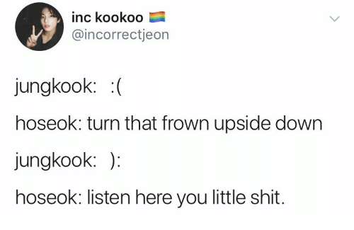 Down, You, and Turn: inc kookoo  @incorrectjeon  jungkook: (  hoseok: turn that frown upside down  jungkook: )  hoseok: listen here you little shit