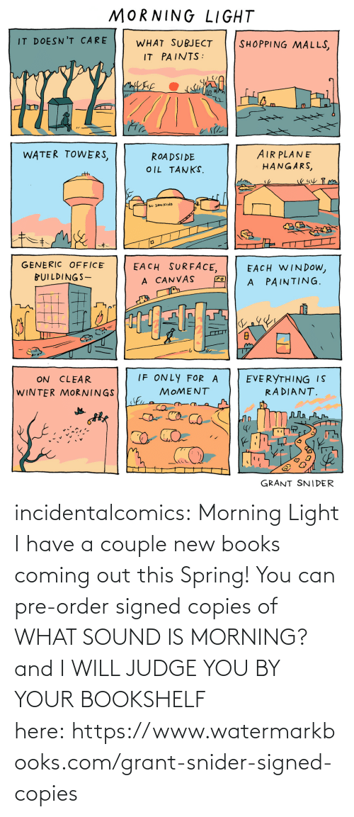 judge: incidentalcomics: Morning Light I have a couple new books coming out this Spring! You can pre-order signed copies of WHAT SOUND IS MORNING? and I WILL JUDGE YOU BY YOUR BOOKSHELF here: https://www.watermarkbooks.com/grant-snider-signed-copies