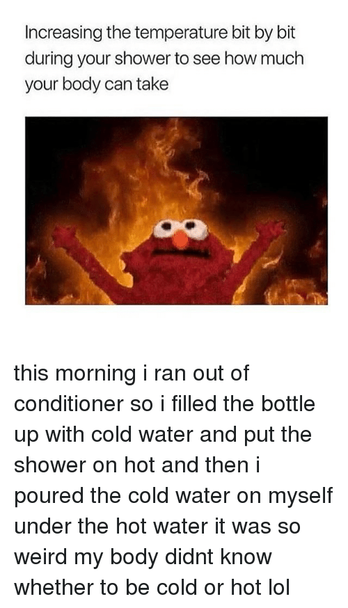 Lol, Memes, and Shower: Increasing the temperature bit by bit  during your shower to see how much  your body can take this morning i ran out of conditioner so i filled the bottle up with cold water and put the shower on hot and then i poured the cold water on myself under the hot water it was so weird my body didnt know whether to be cold or hot lol